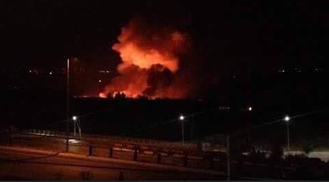 Image result for Explosions at Mezzah Military Airbase in Damascus
