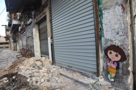 Cornish stencilled the much loved Dora the Explorer onto an abandoned shop. (Supplied: Luke Cornish)
