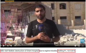The footage of the destroyed Kafr Nabl Hospital