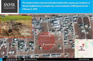 The supposed impact point of the two barrel bombs